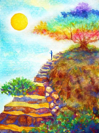 human powerful energy thinking on rock stair under colorful tree watercolor painting