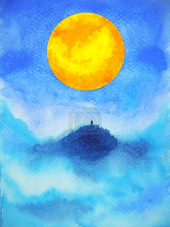 Photo pour Human on top mountain abstract spiritual mind power full moon watercolor painting illustration design - image libre de droit