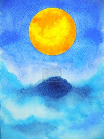 Photo pour Abstrait pleine lune puissance spirituelle énergie aquarelle peinture illustration conception - image libre de droit