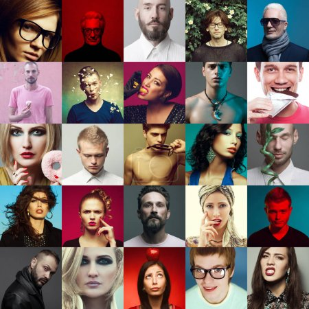Photo for Hipster people concept. Multicolored collage (mosaic) of fashionable men, women with stylish accessories, healthy, unhealthy meal, wearing trendy clothes. Close up. Studio shot - Royalty Free Image