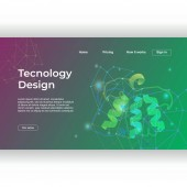 Technology design of landing page with abstract gradient dna recombinant colorful background template Vector illustration eps 10