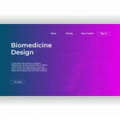 Minimalist medicine design of landing page template with dna recombinant background Vector illustration eps 10