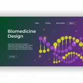 Minimalist medicine design of landing page template with dna colorful gradient background Vector illustration eps 10