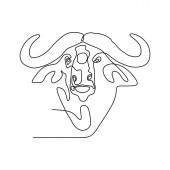 bison one line drawing minimalist design