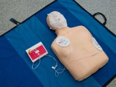 Automated external defibrillator with training dummy mannequin.