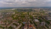 Aerial view of a European city.