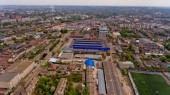 Vinnytsia Ukraine - April 29, 2019: Aerial view of the industrial area of the city.