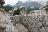 Remaining WWI trenches along the Italian Front in the Dolomite Mountains stand as a testimonial to the courage of those who struggled in the Great War.