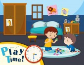 Play time with two boys illustration