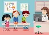 Children in medical clinic illustration