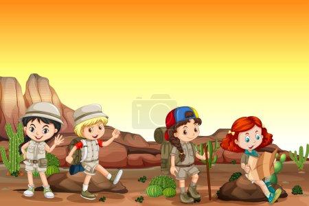 Illustration pour Groupe d'enfants campant dans le désert illustration - image libre de droit
