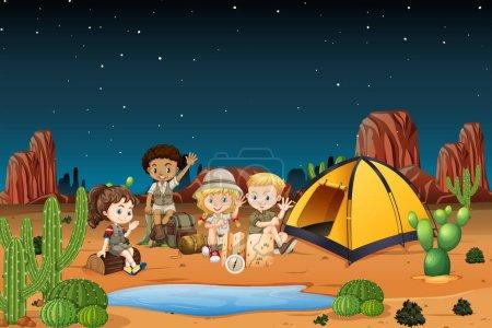 Illustration pour Camping enfants dans le désert la nuit illustration - image libre de droit
