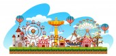 Fun fair amusement scene illustration