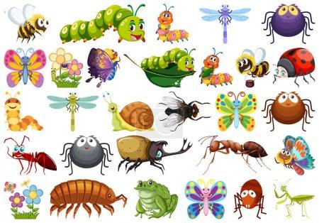 Illustration pour Ensemble d'insectes illustration de fond blanc - image libre de droit