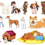 Set of dog cartoon character illustration...