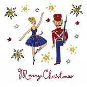 Beautiful Christmas card with bellet dancer and soldier
