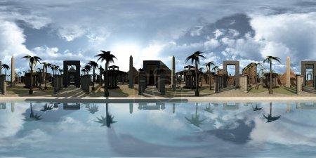 Photo pour Equirectangula de rendu 3D de l'architecture du patrimoine de l'Egypte ancienne. Une image du panorama 360 degrés avec le Nil, en face, une réflexion douce des vieux bâtiments dans l'eau. At les temples de l'arrière-plan, pyramides et palm arbres dans le désert - image libre de droit