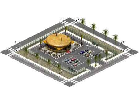 3D rendering of an isometric platform with a parking lot and a fast food restaurant. The drive in dining has the shape of a hamburger. An illustration of modern architecture buildings which can be used for games for example. This image is tile-able.