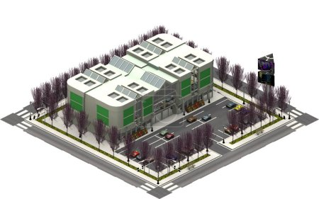 Isometric city buildings, parking lot with shopping mall. 3D rendering