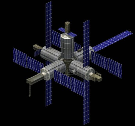 Isometric futuristic sci-fi architecture, spacestation with solar panels. 3D rendering