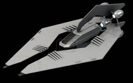 Isometric futuristic sci-fi architecture, stealth space fighter. 3D rendering