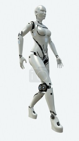 Artificial robot woman model. 3d rendering