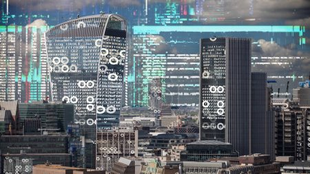 london city skyline with data and computer programming information  mapped onto the building facades