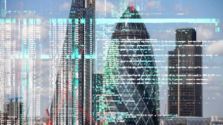 london city skyline with data and computer programming information overlayed