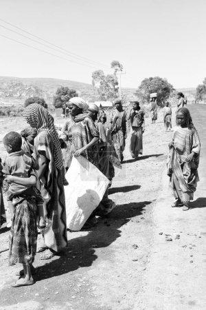 ETHIOPIA,DANAKIL-CIRCA  JANUARY 2018--unidentified  people in the street