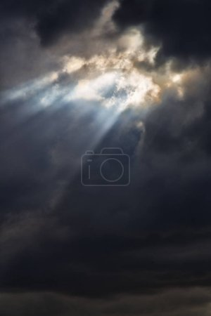 Photo for In the cloudy sky a ray of light like concept of holy paradise and peace - Royalty Free Image