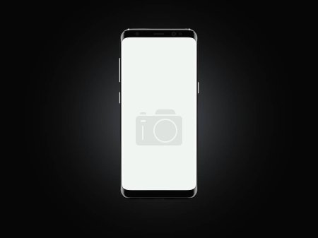 Realistic mobile phone with white screen on black background, 3d rendering