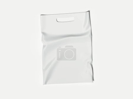White Plastic Bag Isolated On White Background, 3d rendering