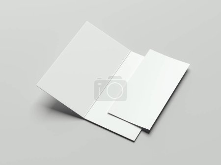 White isolated leaflet and paper sheet, 3d rendering