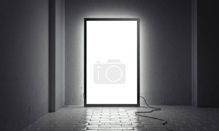 Photo for Blank bright illuminated indoor billboard with black frame next to grey walls, 3d rendering - Royalty Free Image