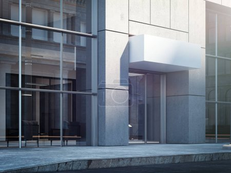 Business center entrance with blank signboard, 3d rendering