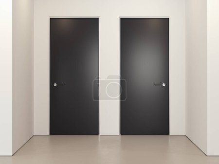 Modern bright room with and black doors, 3d rendering