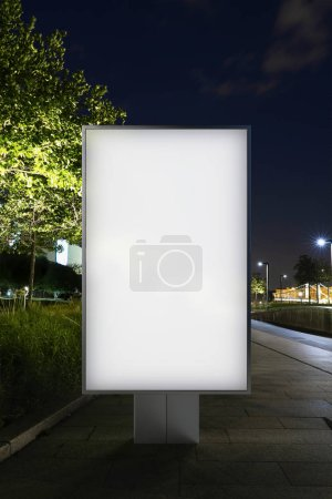 Blank banner on a street in the park. 3d rendering