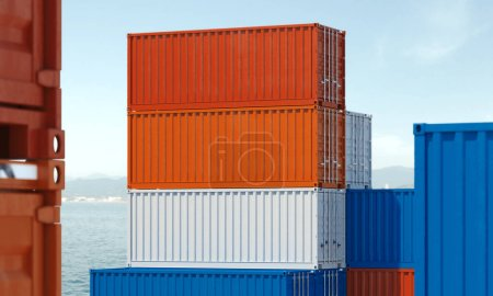 Photo for Close up of multicolour cargo containers with water on background, 3d rendering - Royalty Free Image