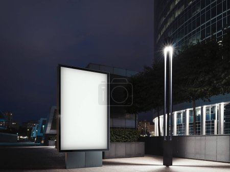 Foto de Banner blanco iluminado en blanco por la noche con centro de negocios en el fondo. renderizado 3d - Imagen libre de derechos
