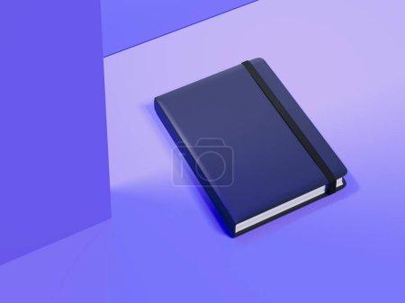Photo pour Bloc-notes fermé foncé avec élastique noir sur fond violet, rendu 3d . - image libre de droit