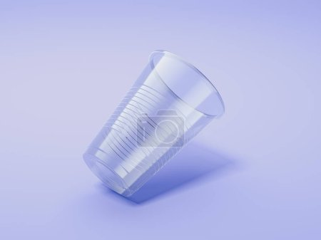 Transparent realistic plastic cup isolated on violet background. 3d rendering.