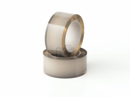 Close up of realistic transparent adhesive tape on white background, 3d rendering.