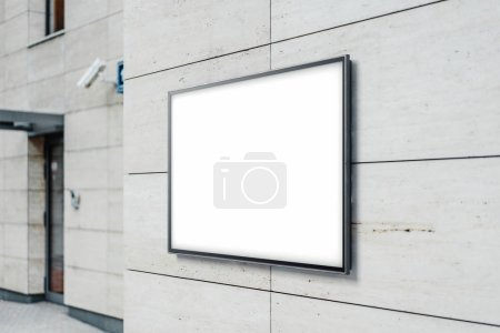 Blank white outdoor horizontal banner at modern building wall, 3d rendering.