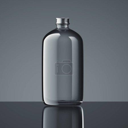Transparent closed bottle on dark background, 3d rendering.