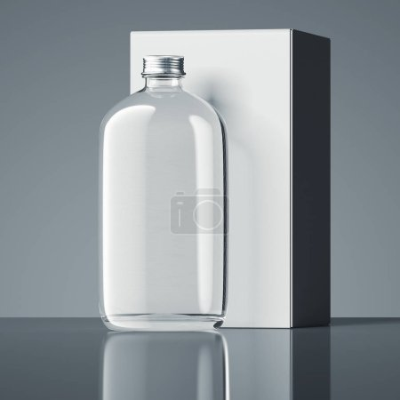Close up of transparent bottle and white box on dark background, 3d rendering.