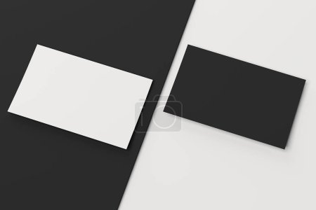 Close up of white and black business cards set, 3d rendering.