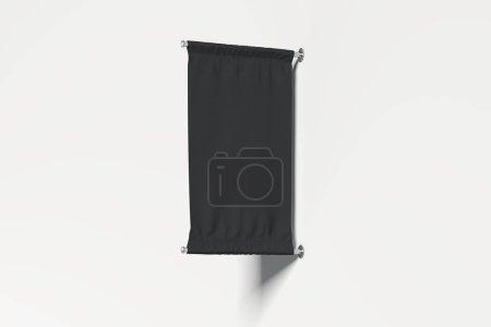 leeres schwarzes Roll Up auf weißem Hintergrund, 3D-Rendering.