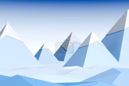 Photo for Abstract snow covered blue mountains and blue sky. 3d rendering. - Royalty Free Image