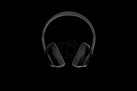 Headphones isolated on dark background. 3d rendering.