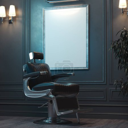 Photo for White blank canvas poster with illumination on dark wall in modern barber shop, 3d rendering. - Royalty Free Image